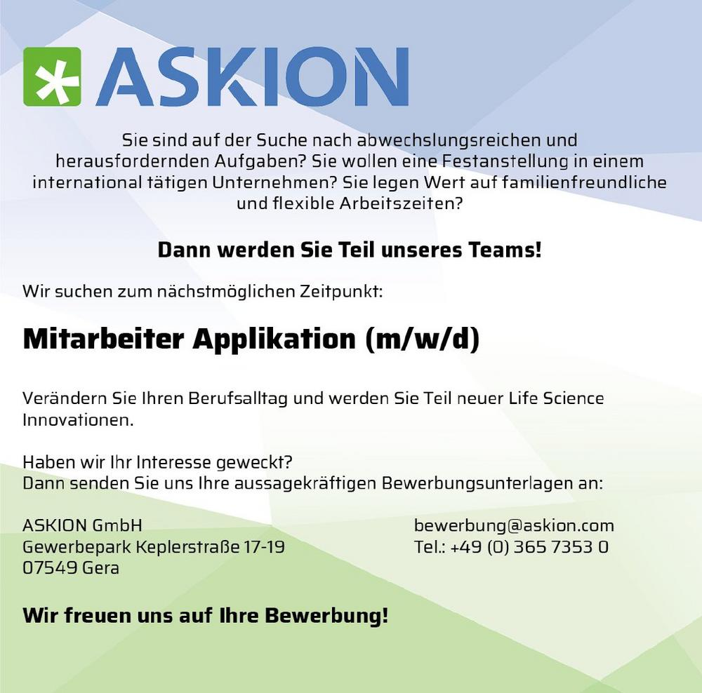 Applikationsingenieur (m/w/d) Mitarbeiter Applikation (Vollzeit | Gera)