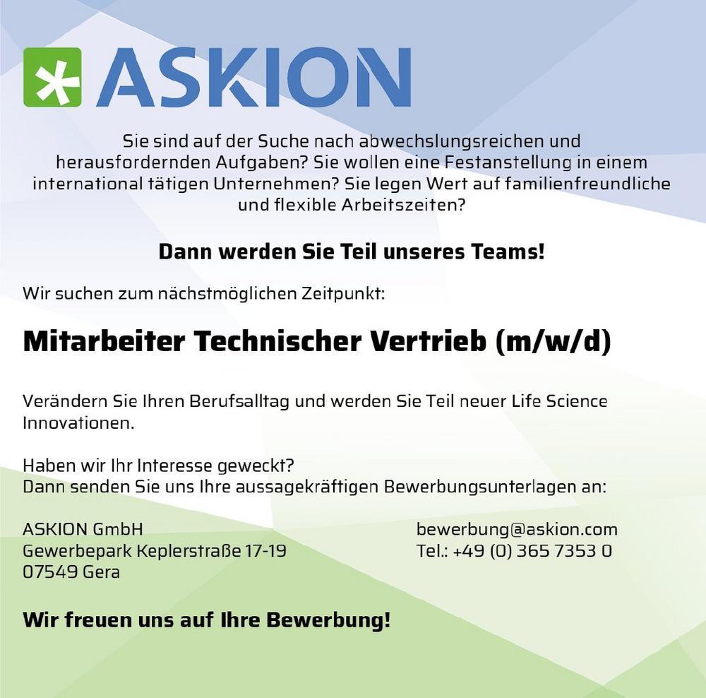 Ingenieur/Naturwissenschaftler (m/w/d) für technischen Vertrieb – Medizintechnik/Biotechnologie (Vollzeit | Gera)