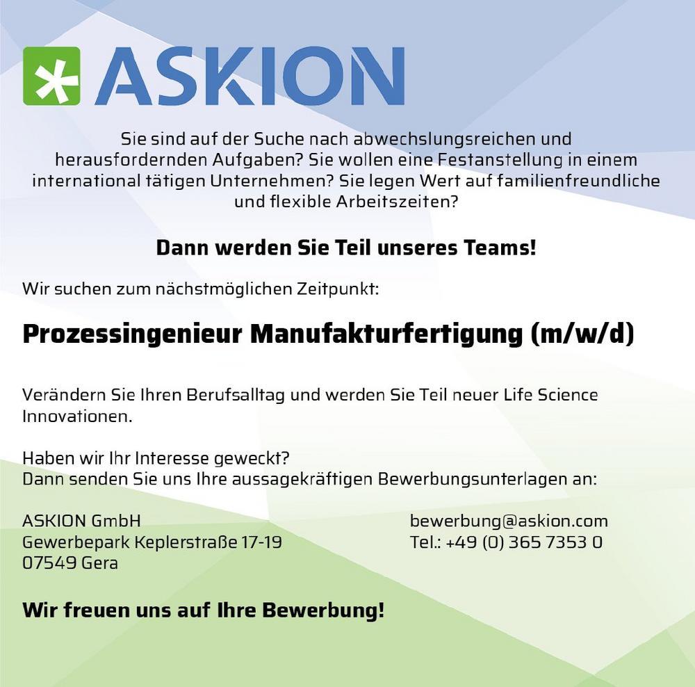 Prozessingenieur Manufakturfertigung (m/w/d) (Vollzeit | Gera)